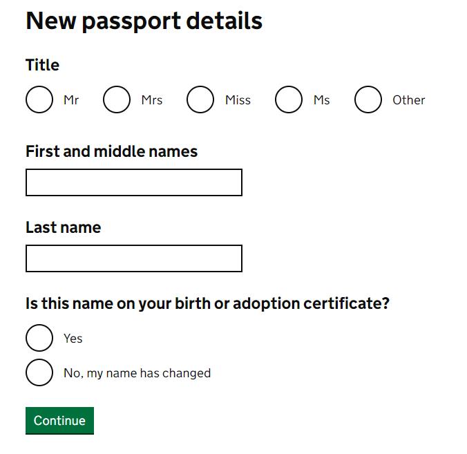 首次申請 First Adult Passport