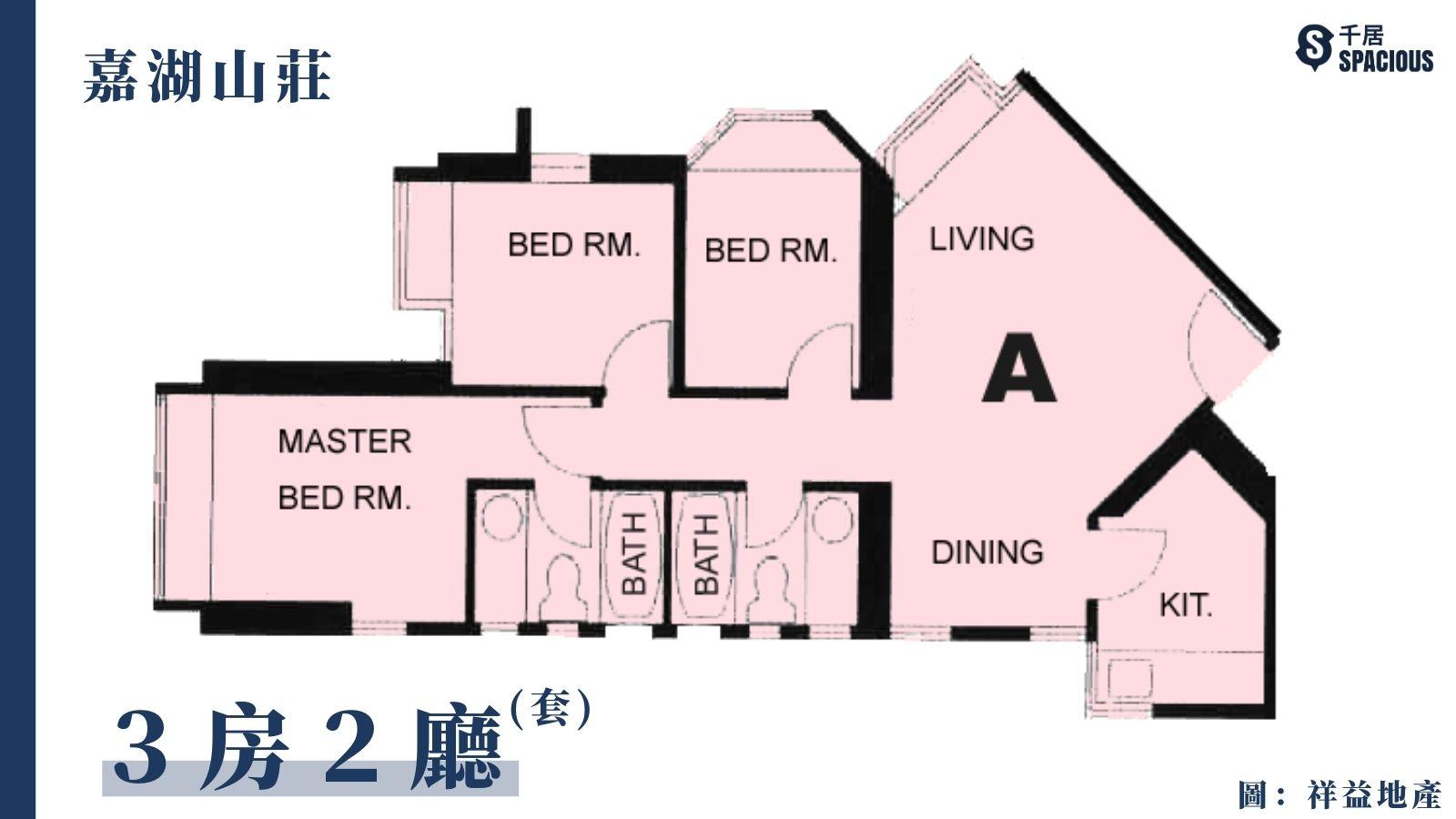 嘉湖山莊-大3房2廳平面圖