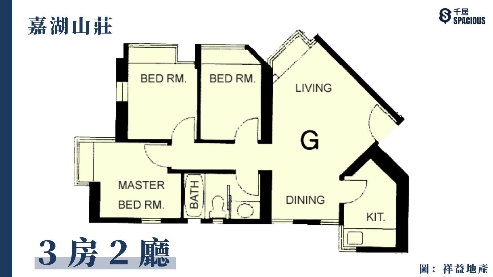 嘉湖山莊-細3房2廳平面圖