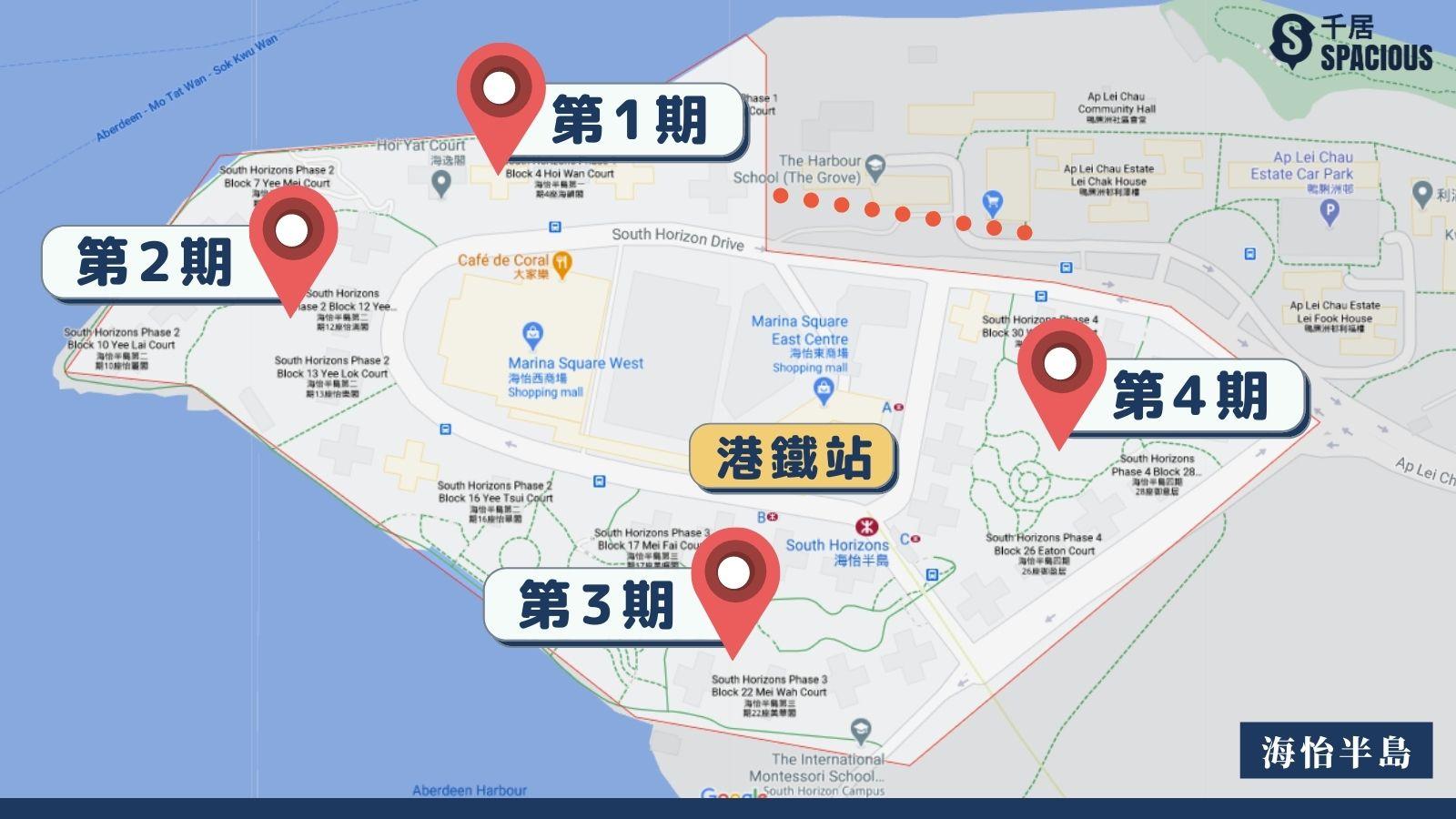 海怡半島不同期數位置圖