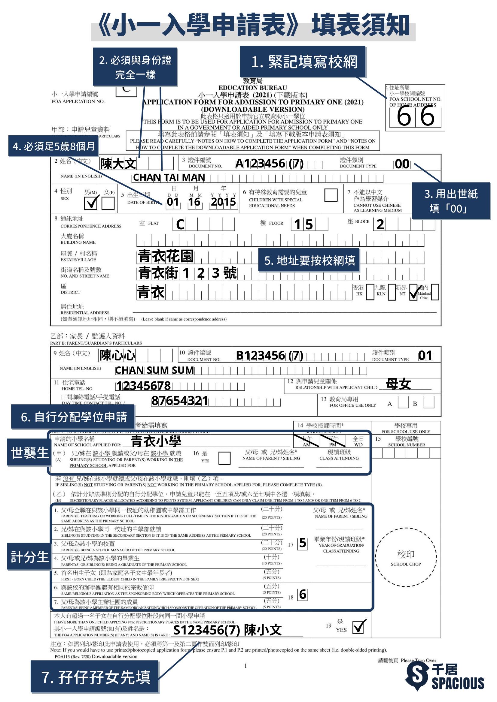 小一入學申請表樣本