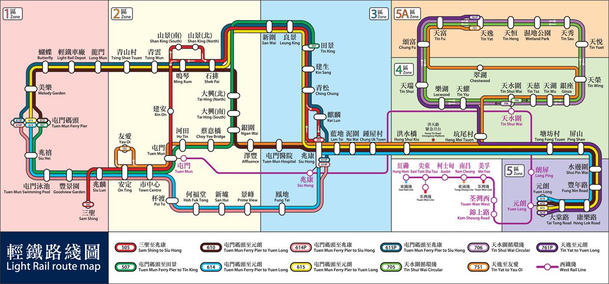 嘉湖山莊-輕鐵路線圖